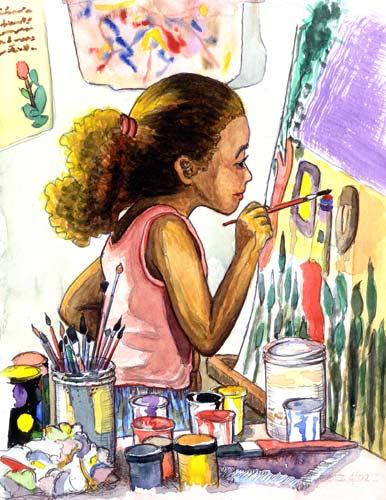 trẻ em học vẽ
